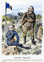 0094018 © Granger - Historical Picture ArchiveFASHODA AFFAIR, 1898.   'Marchez! Marchand!' Contemporary English cartoon by Sir John Tenniel on the meeting between General Horatio Kitchener and French captain Jean-Baptiste Marchand at Fashoda, Sudan, 19 September 1898.