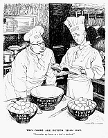 0115522 © Granger - Historical Picture ArchiveBEVIN AND BYRNES, 1945.   'Two Cooks Are Better Than One.' British Foreign Minister Ernest Bevin (left) appeals to U.S. Secretary of State James F. Byrnes to help resolve competing Arab and Jewish claims in Palestine. English cartoon by Leslie Illingworth from 'Punch,' 1945. RESTRICTED OUTSIDE US.