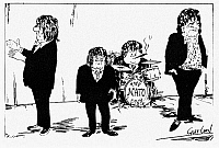 0115527 © Granger - Historical Picture ArchiveNATO LEADERS, 1966.   'Beatles may not appear as a group again.' English cartoon, 1966, commenting on France's decision to withdraw from NATO's integrated command structure. Left to right: French President Charles de Gaulle, British Prime Minister Harold Wilson, West German Chancellor Ludwig Erhard, and U.S. President Lyndon Johnson as the 'NATO Four.'