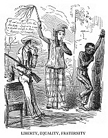0125258 © Granger - Historical Picture ArchiveANTI-AMERICAN CARTOON, 1848.   'Liberty, Equality, Fraternity.' English cartoon by John Leech from 'Punch,' 1848, satirizing the hypocrisy of pro-slavery Americans.