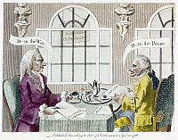 0126555 © Granger - Historical Picture ArchiveSEVEN YEARS' WAR CARTOON.   'The Grumblers of Great Britain.' Two gentlemen at the Bedford Coffee House disagreeing on the benefits and drawbacks of war. English political cartoon, 1763.