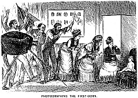 0035094 © Granger - Historical Picture ArchiveDU MAURIER CARTOON, 1876.   'Photographing the First-Born.' Cartoon, 1876, by George Louis Palmella Busson Du Maurier.