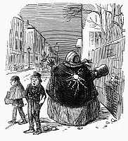 0097635 © Granger - Historical Picture ArchiveSNOWBALL SCENE, c1854.   An obese woman hit in the back with a snowball on a London street. Wood engraving, English, c1854.