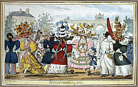 0126482 © Granger - Historical Picture ArchiveENGLISH FASHIONS, 1827.   'Monstrosities of 1827.' Satirical etching by Robert Cruikshank, 1827.