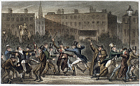 0162993 © Granger - Historical Picture ArchiveLONDON: STREET BRAWL, 1821.   'The Peep o' day boys, A street Row, the Author losing his 'reader,' Tom and Jerry 'showing fight,' and Logic floored.' Etching by George Cruikshank for Pierce Egan's 'Life in London,' 1821.