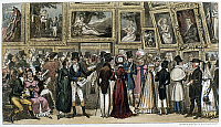 0163032 © Granger - Historical Picture ArchiveLONDON: ROYAL ACADEMY.   'A Shilling Well Laid Out - Tom and Jerry at the Exhibition of Pictures at the Royal Academy.' Etching by George Cruikshank for Pierce Egan's 'Life in London,' 1821.