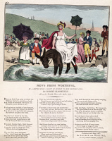 0409433 © Granger - Historical Picture ArchiveNEWS FROM WORTHING, 1807.   A young woman sits on a donkey which sits in the sea refusing to move. Originally published on May 25, 1807 by Laurie and Whittle, London. Illustration by Isaac Cruikshank, 1807.