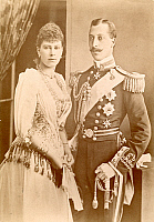 0059482 © Granger - Historical Picture ArchivePRINCE ALBERT VICTOR.   (1864-1892). Duke of Clarence and Avondale. Eldest son of King Edward VII of England. Suspected by some to be the serial killer known as Jack the Ripper. Photographed with his fiancee, Princess Victoria Mary of Teck (later Queen Mary, consort of George V).