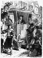 0094503 © Granger - Historical Picture ArchiveCHARLES I (1600-1649).   King of Great Britain, 1625-1649. Charles I encounters protests while riding through the streets of London, England, following his forced entry into the House of Commons on 4 January 1642. Wood engraving, English, c1860.