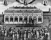 0259002 © Granger - Historical Picture ArchiveEXECUTION OF CHARLES I.   The execution of King Charles I of England outside the Banqueting House at Whitehall Palace, London, 30 January 1649. A portrait of Charles appears at top center, between those of Parliamentary commanders Thomas Fairfax (left) and Oliver Cromwell. Contemporary German line engraving.