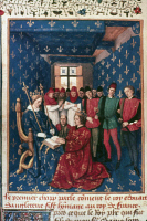 0019453 © Granger - Historical Picture ArchiveKING EDWARD I (1239-1307).   King of England, 1272-1307. Edward I of England doing homage to Philip the Fair of France in 1286. Manuscript illumination by Jean Fouquet, 1455-1460, from the 'Grandes Chroniques de France.'