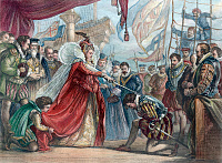 0008561 © Granger - Historical Picture ArchiveELIZABETH I/FRANCIS DRAKE.   Queen Elizabeth I knighting Francis Drake on the deck of the