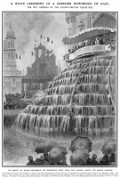 0068173 © Granger - Historical Picture ArchiveFRANCO-BRITISH EXHIBITION.   From the gallery overlooking a cascade of fountains in the Court of Honour, the Prince of Wales (the future King George V) announces the opening of the Franco-British Exhibition during a heavy downpour at London, 14 May 1908: illustration from a contemporary English newspaper.