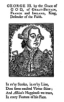 0014120 © Granger - Historical Picture ArchiveGEORGE III (1738-1820).   King of Great Britain, 1760-1820. Woodcut frontispiece to Watt's Speller, a colonial textbook of 1770.
