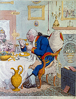 0030556 © Granger - Historical Picture ArchiveKING GEORGE III OF ENGLAND.   'Temperance enjoying a frugal meal.' George III (1738-1820), King of Great Britain and Ireland (1760-1820), dining with his consort, Queen Charlotte. Caricature etching by James Gillray, 1792.