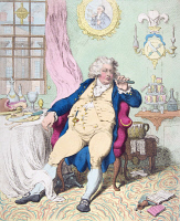 0024034 © Granger - Historical Picture ArchiveKING GEORGE IV OF ENGLAND.   George IV (1762-1830), King of Great Britain and Ireland (1820-30), and King of Hanover (1820-30). 'A Voluptuary under the horrors of Digestion.' Caricature by James Gillray, 1792.