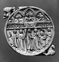 0126655 © Granger - Historical Picture ArchiveMIRROR CASE: LOVE.   Scenes of love and courtship on a carved mirror case. English, 13th-14th century.