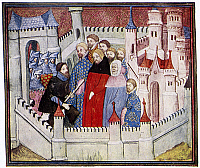 0116986 © Granger - Historical Picture ArchiveHENRY IV & RICHARD II.   The meeting of Henry IV (left) and King Richard II (center, in red) at Flint Castle, 1399. French manuscript illumination, early 15th century. RESTRICTED OUTSIDE US.