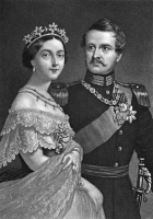 0048533 © Granger - Historical Picture ArchiveFREDERICK III & VICTORIA.   Frederick III (1831-1888), Crown Prince of Prussia, 1861-1888 and Emperor of Germany, 1888, with his wife, Victoria, Princess Royal of Great Britain and Empress of Germany. Mezzotint, 19th century, by John Sartain.