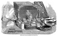0268072 © Granger - Historical Picture ArchiveDRESSING CASE, 1858.   Dressing case presented as a gift from the Duchess of Kent to Victoria, Princess Royal, on the occasion of her wedding to German Emperor Frederick III, 1858. Contemporary English wood engraving.