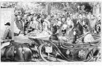 0371181 © Granger - Historical Picture ArchiveQUEEN VICTORIA (1819-1901).   Queen of Great Britain, 1837-1901. Victoria arriving at South Kensington, London, for the celebration of the foundation stone laying for the Victoria and Albert Museum. Illustration, English, 1899.