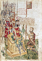 0006060 © Granger - Historical Picture ArchiveWILLIAM THE CONQUEROR   (1027-1087). King of England, 1066-1087. William presenting fiefs to his nephew, Alain Le Roux, Count of Brittany. Illumination from a 13th-century manuscript. RESTRICTED OUTSIDE US.