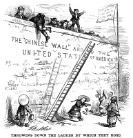 0066266 © Granger - Historical Picture ArchiveIMMIGRATION CARTOON.  Earlier immigrants, mostly Irish, want to prevent Chinese from entering the United States: cartoon, 1870, by Thomas Nast.