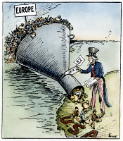 0073753 © Granger - Historical Picture ArchiveCARTOON: IMMIGRATION, 1921.   'The Only Way to Handle It.' Contemporary cartoon on the effectiveness of the temporary Immigration Act of 1921 in reducing the flood of immigrants to the United States to a mere trickle. Cartoon, 1921.