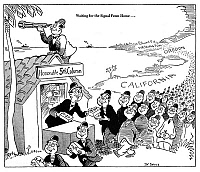 0077474 © Granger - Historical Picture ArchiveANTI-JAPANESE CARTOON, 1942.   'Waiting for the Signal From Home...': American cartoon by Dr. Seuss (Theodor Geisel) for the New York City newspaper, 'PM', 13 February 1942, reflecting the fear that large numbers of Japanese-Americans on the Pacific coast were potential saboteurs in sympathy with the Japanese enemy during World War II.