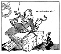 0077477 © Granger - Historical Picture ArchiveANTI-SEMITISM CARTOON, 1942.   'Put your finger here, pal...': American cartoon by Dr. Seuss (Theodor Geisel) for the New York City newspaper, 'PM,' 16 December 1942, critical of American anti-semites for aiding dictator Adolf Hitler of Nazi Germany in delivering his 'gift' of race hatred to the world.
