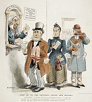 0009530 © Granger - Historical Picture ArchiveINCOME TAX CARTOON, 1895.   American millionaire Russell Sage, Hetty Green and George Gould tearfully pay their income taxes in this 1895 cartoon by F.B. Opper.