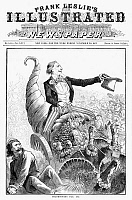 0090180 © Granger - Historical Picture ArchiveTHANKSGIVING PARADE, 1887.  Uncle Sam, shoving aside anarchy, rides triumphantly in a cornucopia wheeled by commerce. Cartoon, American, 1887.