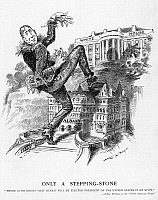 0060149 © Granger - Historical Picture ArchiveHEARST CARTOON.   'Only a Stepping Stone': Cartoon by W.A. Rogers from HW, Oct. 27, 1906, of William Randolph Hearst (dressed as the Scarecrow from the 'Wizard of Oz') on the political ambition of Hearst to reach the White House by way of the governorship of New York.