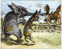 0071365 © Granger - Historical Picture ArchiveBULL MOOSE CAMPAIGN, 1912.   The Republican elephant and Democratic donkey react in alarm at the approach of the Progressive 'Bull Moose' party, wearing the spectacles of its presidential candidate, Theodore Roosevelt. American cartoon, 1912, by W.A. Carson.