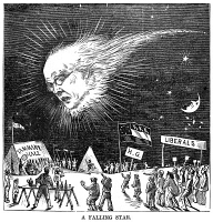 0354269 © Granger - Historical Picture ArchivePRESIDENTIAL CAMPAIGN, 1872.   'A Falling Star.' Cartoon depicting presidential candidate Horace Greeley falling into the camp of Tammany Hall, the Liberals and the Ku Klux Klan. Wood engraving, American, October 1872.