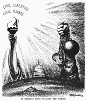 0034150 © Granger - Historical Picture ArchiveCIVIL RIGHTS CARTOON, 1953.   'As American Goes, So Goes the World.' American cartoon by D.R. Fitzpatrick, 1953, on the emphasis in President Eisenhower's inauguration speech on the importance of preserving freedom at home as well as abroad.