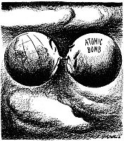 0027273 © Granger - Historical Picture ArchiveCARTOON: ATOM BOMB, 1945.  'Well?' American cartoon by Daniel R. Fitzpatrick, 1945, depicting the atomic bomb bullying the world for atomic domination.