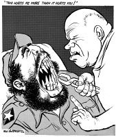 0622499 © Granger - Historical Picture ArchiveCUBAN MISSILE CRISIS, 1962.   'This hurts me more than it hurts you.' Cartoon comment on the Cuban Missile Crisis; Soviet leader Nikita Khrushchev as a dentist, removing missiles from the mouth of Cuban leader Fidel Castro. Cartoon by Edmund Valtman, 30 October 1962.