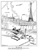 0171998 © Granger - Historical Picture ArchiveFARR: CARTOON, 1925.   'The Year 2000.' 'Hubby - Well, dear, here's Paris; run in and get your divorce. I've got to be back in Minneapolis for lunch.' Cartoon by Jack Farr for 'Judge,' 18 July 1925.