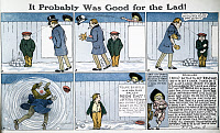 0621524 © Granger - Historical Picture ArchiveOUTCAULT: COMIC STRIP, c1914. Comic strip character Buster Brown and his dog Tige prank a bully. Cartoon by Richard F. Outcault, c1914.