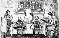 0017718 © Granger - Historical Picture ArchiveDU MAURIER CARTOON, 1878.   Papa presiding over the tea table. Cartoon by George Louis Palmella Busson Du Maurier from 'Punch,' 1878.