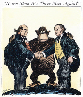0038715 © Granger - Historical Picture ArchiveCARTOON: SCOPES TRIAL, 1925. 'When Shall We Three Meet Again?' Cartoon from an American newspaper shortly after the close of the Scopes 'monkey' trial on the teaching of evolution in publicly supported schools; William Jennings Bryan is at left and Clarence Darrow at right. Cartoon, 1925.