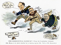 0067272 © Granger - Historical Picture ArchivePRESIDENTIAL CAMPAIGN 1908.   The Presidential handicap!: Democratic candidate William Jennings Bryan finds himself competing not only with Republican candidate William Howard Taft, but also with President Theodore Roosevelt, Taft's mentor, in the 1908 presidential election campaign: contemporary American cartoon.
