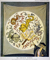 0038794 © Granger - Historical Picture ArchiveBRYAN & HEARST CARTOON.   American cartoon, 1904, depicting anarchy, populism, William Jennings Bryan, and William Randolph Hearst as dangerous germs in the body politic.