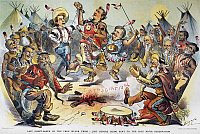 0061736 © Granger - Historical Picture ArchiveFREE SILVER CARTOON, 1896.   'Last Ghost-Dance of the Free Silver Tribe.' Populists Tom Watson and William Jennings Bryan lead the war dance in this 1896 American cartoon by Louis Dalrymple.