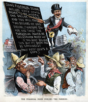 0350480 © Granger - Historical Picture ArchiveFREE SILVER CARTOON, 1895.   'The Financial Fakir Fooling the Farmers.' Cartoon depicting William H. Harvey as a con man attracting supporters for the Free Silver policy. Chromolithograph from Puck, 1895.