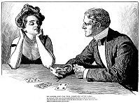 0001152 © Granger - Historical Picture ArchiveGIBSON: CARDS, 1900.   Charles Dana Gibson (1867-1944). American illustrator. 'Of Course, You Can Tell Fortunes With Cards.' Pen and ink drawing, 1900.