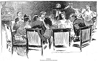 0012490 © Granger - Historical Picture ArchiveGIBSON: DINNER PARTY, 1894.   'Puzzle. Find the Man Who is Paying for the Dinner.' Drawing, 1894, by Charles Dana Gibson.