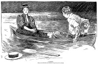 0038189 © Granger - Historical Picture ArchiveGIBSON: A DRAMA, 1895.   Charles Dana Gibson (1867-1944). American illustrator. 'She Has Just Prevented His Proposing By Telling Him She Is Engaged.' Pen and ink drawing, 1895.