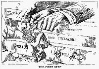 0113774 © Granger - Historical Picture ArchiveIMMIGRATION CARTOON, 1916.   'The First Step.' Cartoon from an American newspaper, 1916, promoting the learning of English as the immigrant's first step to productive and successful citizenship.